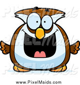 Clipart of a Happy Grinning Owl by Cory Thoman