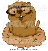 Clipart of a Happy Groundhog Wearing Glasses by BNP Design Studio