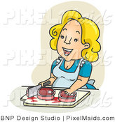 Clipart of a Happy Housewife Chopping Meat over Tan by BNP Design Studio