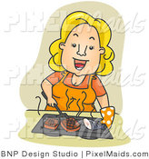 Clipart of a Happy Housewife Grilling Fish and Meat over Tan by BNP Design Studio