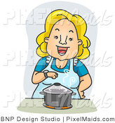 Clipart of a Happy Housewife Standing over a Pot on a Stove by BNP Design Studio