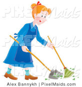 Clipart of a Happy Housewife Sweeping up a Mess by Alex Bannykh