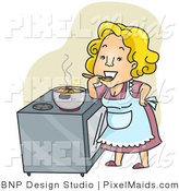 Clipart of a Happy Housewife Tasting Her Stew over Green by BNP Design Studio