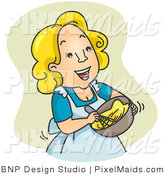 Clipart of a Happy Housewife Woman Beating Eggs over Green by BNP Design Studio