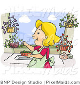 Clipart of a Happy Housewife Woman Picking Herbs from Her Garden by BNP Design Studio