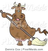 Clipart of a Happy Human-like Spotted Cow the Mopping Floor by Djart