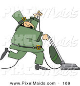 Clipart of a Happy Irish Leprechaun Vacuuming and Wearing a Green Suit by Djart