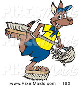 Clipart of a Happy Kangaroo Janitor Playing with Brush Shoes and a Mop by Dennis Holmes Designs