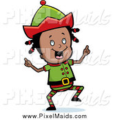 September 18th, 2014: Clipart of a Happy Little Black Girl Elf Dancing by Cory Thoman