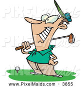 Clipart of a Happy Male Golfer near a Ball, Holding His Golf Club, on White by Toonaday