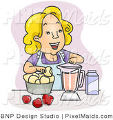 Clipart of a Happy Mother Blending Juice in the Kitchen by BNP Design Studio