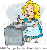 Clipart of a Happy Mother, Cook, or Housewife Stirring Stew on a Stove by BNP Design Studio