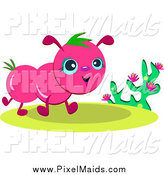 Clipart of a Happy Pink Bug Walking by a Plant by