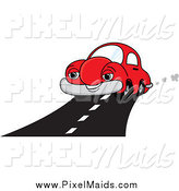 Clipart of a Happy Red Car on a Road by Pams Clipart