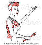 Clipart of a Happy Red Haired Housewife or Maid Woman in an Apron, Singing and Using a Wooden Spoon While Baking in the Kitchen by Andy Nortnik