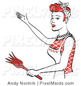 Clipart of a Happy Red Haired Housewife or Maid Woman Wearing an Apron While Gesturing or Dancing and Using a Feather Duster by Andy Nortnik