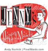 Clipart of a Happy Redhaired Woman in an Apron, Using a Steam Iron on Clothes on a Vintage Jenny's Happy Maids Advertisement by Andy Nortnik