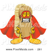 Clipart of a Happy Scrub Brush Mascot Cartoon Character Dressed As a Super Hero by Toons4Biz