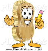 Clipart of a Happy Scrub Brush Mascot Cartoon Character Holding a Pencil by Toons4Biz