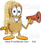 Clipart of a Happy Scrub Brush Mascot Cartoon Character Holding a Red Megaphone Bullhorn by Toons4Biz