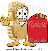 Clipart of a Happy Scrub Brush Mascot Cartoon Character Holding a Red Sales Price Tag by Toons4Biz