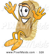 Clipart of a Happy Scrub Brush Mascot Cartoon Character Jumping by Toons4Biz