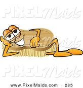 Clipart of a Happy Scrub Brush Mascot Cartoon Character Lying on His Side and Resting His Head on His Hand by Toons4Biz