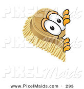 Clipart of a Happy Scrub Brush Mascot Cartoon Character Peeking Around a Corner by Toons4Biz