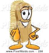 Clipart of a Happy Scrub Brush Mascot Cartoon Character Pointing Outwards at the Viewer by Toons4Biz