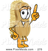 Clipart of a Happy Scrub Brush Mascot Cartoon Character Pointing Upwards by Toons4Biz