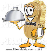 Clipart of a Happy Scrub Brush Mascot Cartoon Character Serving a Dinner Platter While Waiting Tables by Toons4Biz