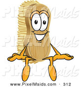 Clipart of a Happy Scrub Brush Mascot Cartoon Character Sitting by Toons4Biz