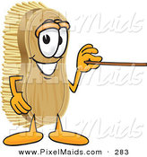 Clipart of a Happy Scrub Brush Mascot Cartoon Character Using a Pointer Stick to Point to the Right by Toons4Biz
