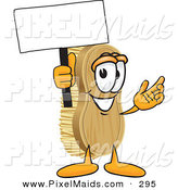 Clipart of a Happy Scrub Brush Mascot Cartoon Character Waving a Blank White Advertising Sign by Toons4Biz