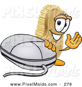 Clipart of a Happy Scrub Brush Mascot Cartoon Character Waving and Standing by a Computer Mouse by Toons4Biz
