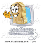 Clipart of a Happy Scrub Brush Mascot Cartoon Character Waving from Inside a Computer Screen by Toons4Biz
