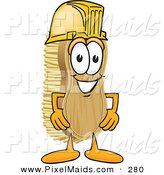 Clipart of a Happy Scrub Brush Mascot Cartoon Character Wearing a Yellow Hardhat Helmet by Toons4Biz