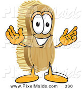 Clipart of a Happy Scrub Brush Mascot Cartoon Character with Welcoming Open Arms by Toons4Biz