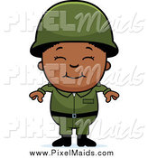 Clipart of a Happy Smiling Black Army Boy by Cory Thoman
