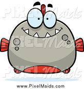 Clipart of a Happy Smiling Piranha by Cory Thoman