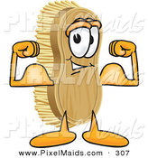 Clipart of a Happy Strong Scrub Brush Mascot Cartoon Character Flexing His Strong Bicep Arm Muscles by Toons4Biz