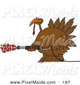 Clipart of a Happy Thanksgiving Turkey Spraying Cranberries out of a Pressure Washer by Djart
