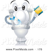 Clipart of a Happy Toilet Character Pouring in Cleanser by BNP Design Studio
