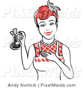 Clipart of a Happy Woman in a White Apron, Holding up a Bottle of Cooking Oil by Andy Nortnik