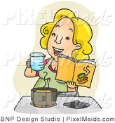 Clipart of a Happy Woman Measuring and Cooking in a Kitchen from a Cookbook by BNP Design Studio