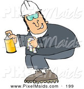 Clipart of a Happy Worker Man Crouching and Spraying a Cleaner from a Can by Djart