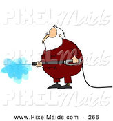 Clipart of a Hard Working Kris Kringle Wearing Pajamas and Operating a Pressure Washer by Djart