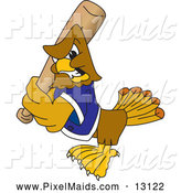 Clipart of a Hawk Character Playing Baseball by Toons4Biz