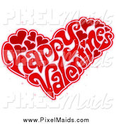 Clipart of a Heart Made of Happy Happy Valentines Wording by BNP Design Studio
