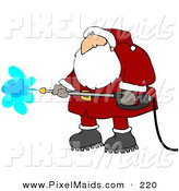 Clipart of a Helpful Santa Claus in a Red and White Suit and Boots, Operating a Pressure Washer by Djart